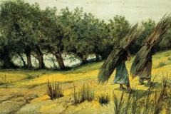 G. Fattori - Ritorno dalla macchia. Acquerello su carta pesante, riportato su telaio in legno dall'Artista, mm. 250 x 500, firmato in basso a sinistra : Gio.Fattori,1890 ca.