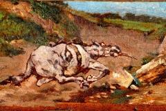 G. Fattori, Cavallo stramazzato. Olio su tavola, cm. 15 x 28,5, 1880 ca.