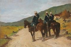 G.Fattori-Tre lancieri-a-cavallo. Olio-su-tavola, cm. 24 x 35,5, firmato in basso a sinistra : Gio.Fattori, 1890-ca.