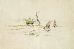 G. Fattori-Due fascinaie nella campagna. Matita di grafite e acquerello su carta chiara, mm. 180 x 237, firmato in basso a destra, 1885-1890.