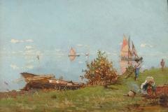 Pietro Fragiacomo-Laguna di Venezia con barcaiolo