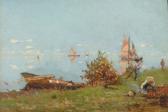 P. Fragiacomo-Laguna di Venezia , barcaioli al lavoro. Olio su tavola, cm. 19 x 27,5, 1881-1882