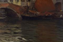 P. Fragiacomo- Canale con ponte a Venezia, 1887 ca. Olio su tela, cm. 25 x 40, firmato in basso a destra : P. Fragiacomo. Piacenza, Galleria d'Arte Moderna Ricci Oddi.