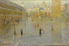 P. Fragiacomo-Acqua alta in Piazza San Marco, 1909 ca. Olio su tavola, cm. 16 x 24, firmato in basso a sinistra : P.Fragiacomo