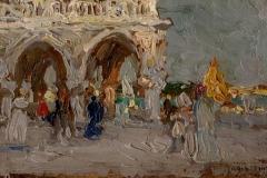 P. Fragiacomo-Piazzetta San Marco. 1909 ca. Olio su cartone, cm. 7 x 11, firmato in basso a destra : P.Fragiacomo.