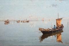 P. Fragiacomo-Barcaioli e vieri in laguna. Olio su tela, cm. 40 x 72, firmato in basso a destra : P.Fragiacomo.Venezia., 1882 ca.