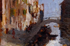 P. Fragiacomo - Venezia, scorcio di canale, 1878-1880. Olio su tavola, cm. 17 x 7,5