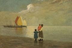 P. Fragiacomo - Sulla spiaggia, 1915-1920. Olio su tavola, cm. 39,5 x 58, firmato in basso a sinistra : P.Fragiacomo